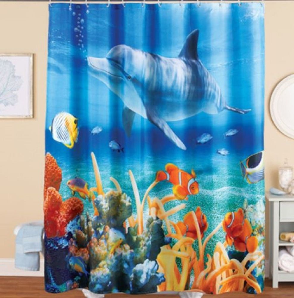 Dolphin Shower Curtain Vibrant Tropical Aquatic Sealife Whimsical