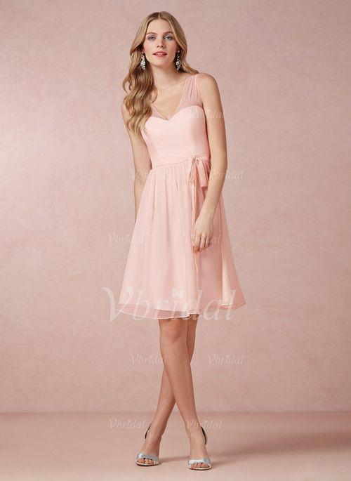 Natural Straps A Line Knee Length Chiffon Bridesmaid Dresses