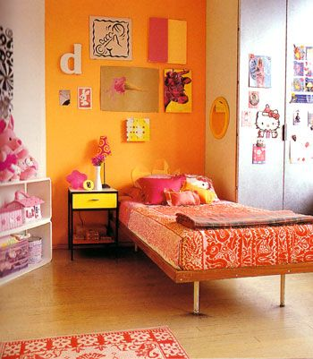 Fun Room With One Orange Accent Wall