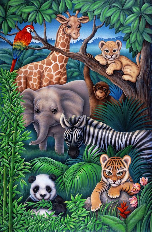 Animal Kingdom Jungle Pattern Animal Kingdom Animal Mural