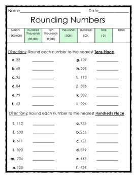 rounding numbers to the tens and hundreds places 1 page subject elementary math tpt free. Black Bedroom Furniture Sets. Home Design Ideas