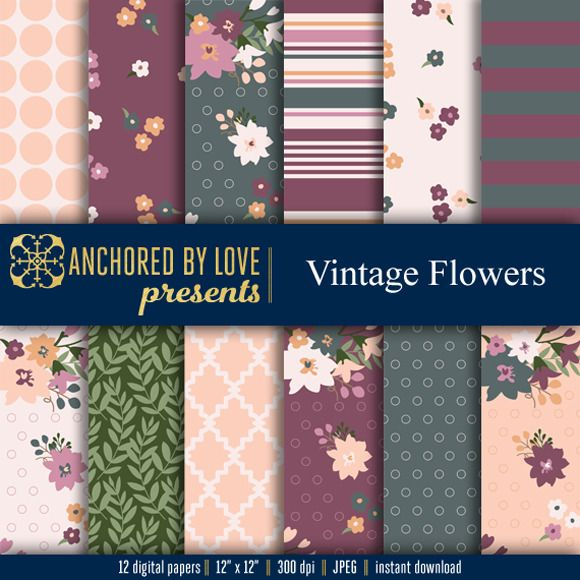 Vintage Flowers Digital Paper by Anchored By Love  on @creativemarket