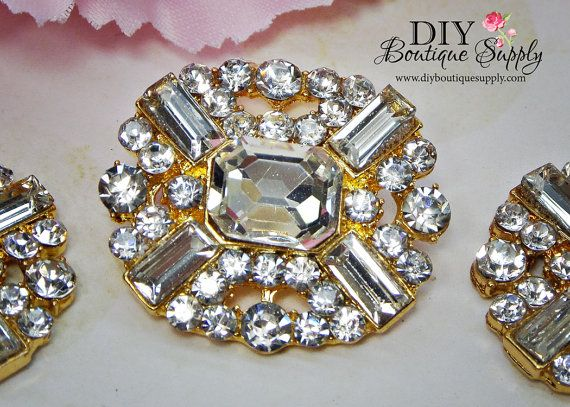 Hey, I found this really awesome Etsy listing at https://www.etsy.com/listing/214392777/large-gold-rhinestone-buttons-clear