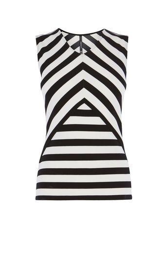 Karen Millen, STRIPED CUTOUT TOP Black & White