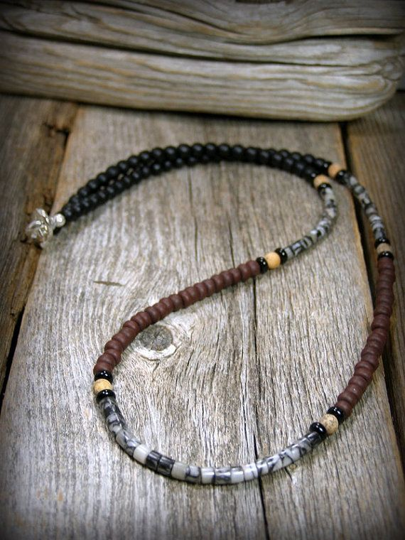 Mens Necklace Beaded In A Southwest Boho Style In Browns Black