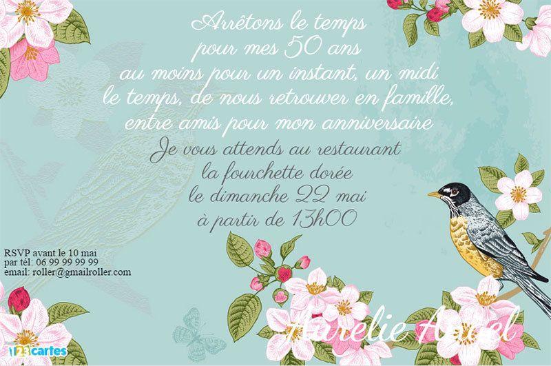 Invitation Anniversaire 50 Ans Oiseau Vintage A Personnaliser