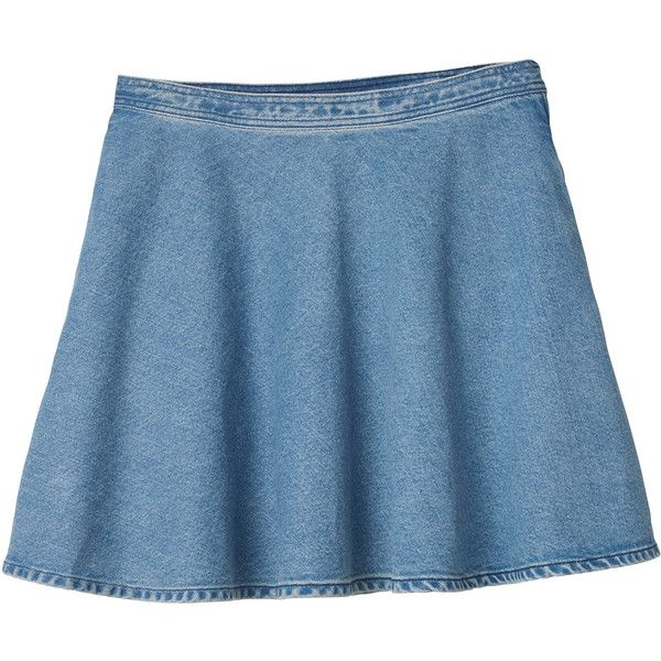 Monki Indie denim skirt ($11) ❤ liked on Polyvore featuring skirts, bottoms, saias, clothes - skirts, light blue, blue skirt, circle skirt, flared skirt, stretch skirt and skater skirt