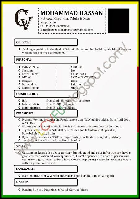 image result for pakistani cv samples
