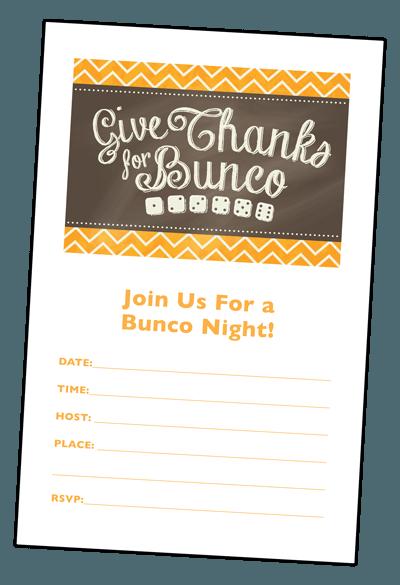 Thanksgiving Bunco Invitation Bunco Thanksgiving Invitations
