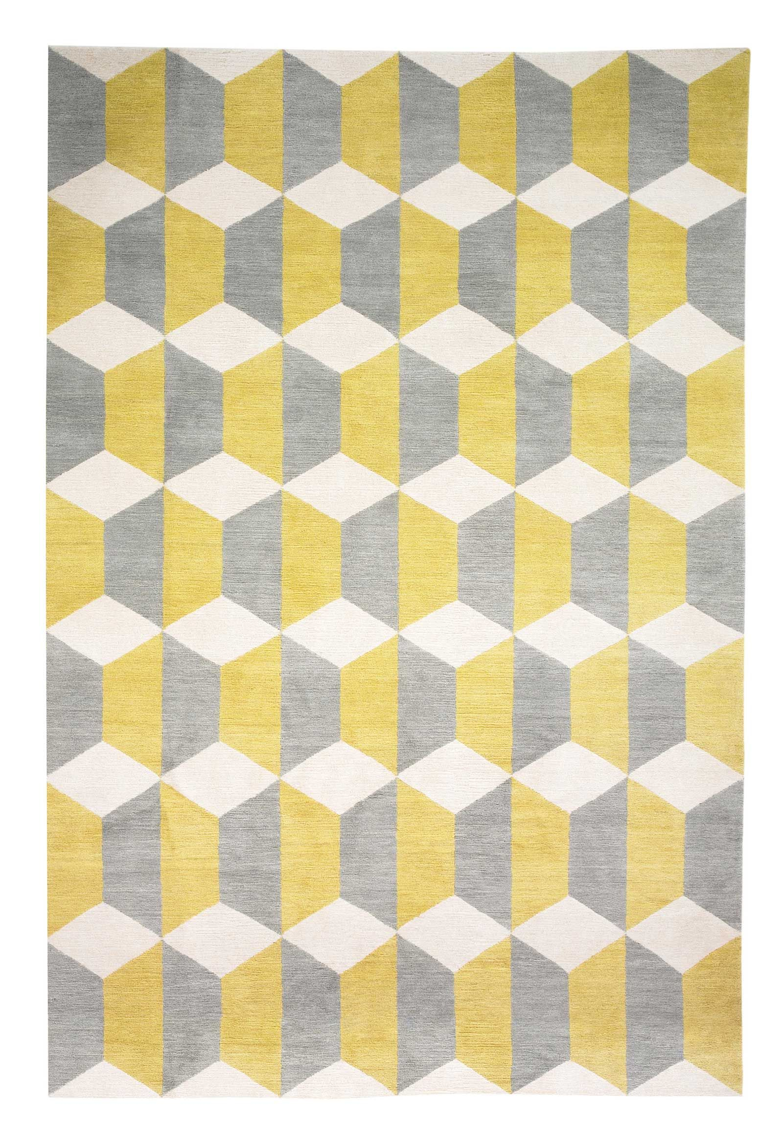 Chiesa Yellow By Suzanne Sharp Wool Contemporary Hand Knotted