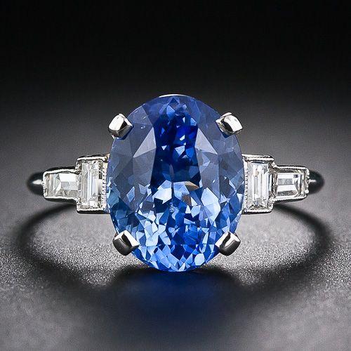 4.78 quilates Zafiro Platino y Diamante Art Deco Ring - 30-1-5387 - Lang Antigüedades