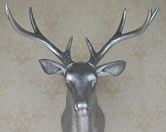 Silver Faux Deer Head, Resin Deer Head, Wall Decor, Wall Hanging, Faux