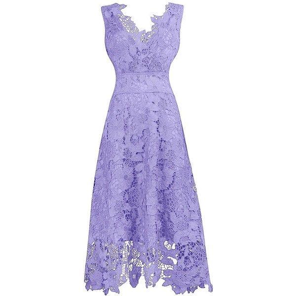 UK Women Lace Bridesmaid Dress V-Neck Cocktail Evening Party Swing Dresses