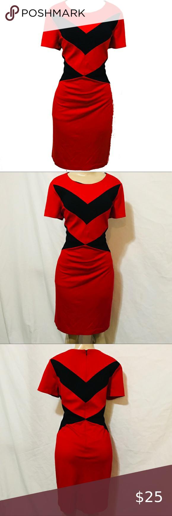 Vince Camuto Red Black Career Work Dress 10 Dresses For Work Colorblock Dress Dresses [ 1740 x 580 Pixel ]