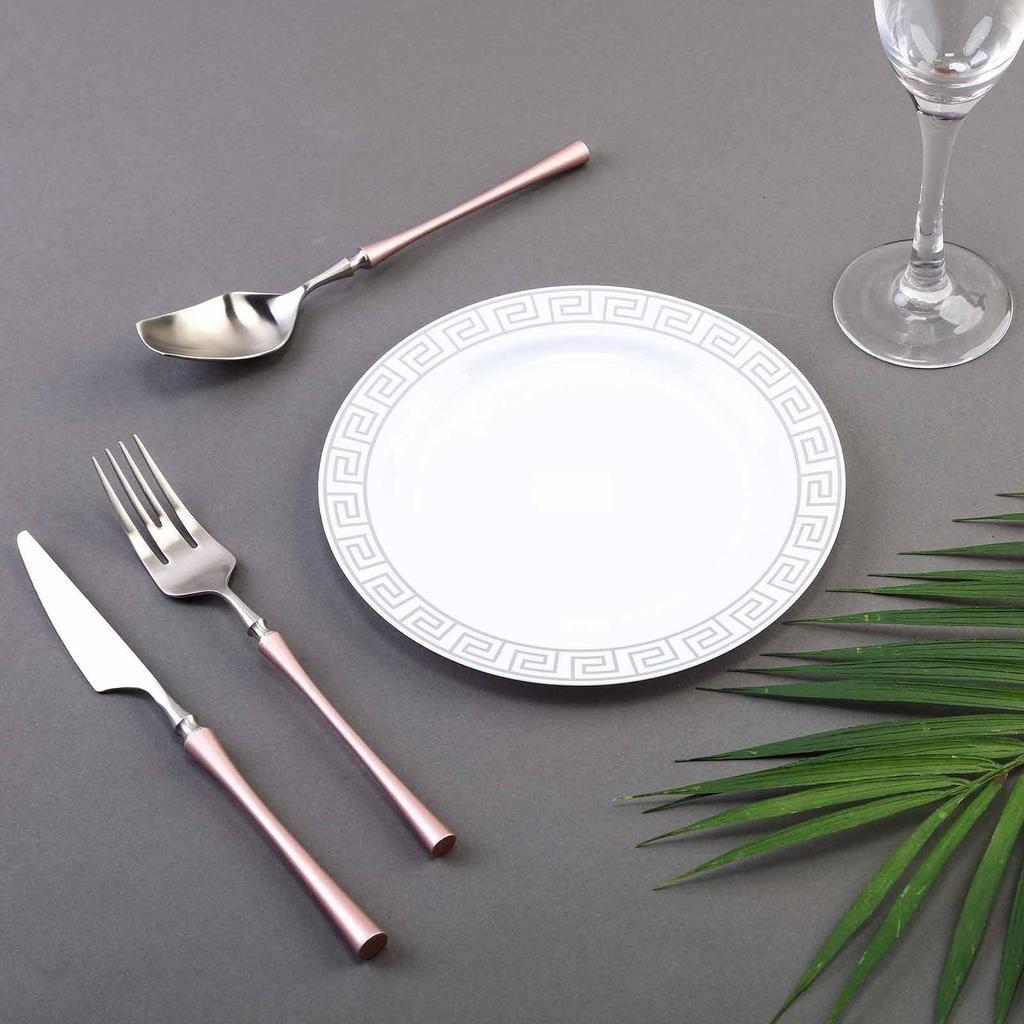 8 10 Pack White Round Plastic Dessert Plates Disposable Salad Plates With Silver Geometric Design Hot Stamped Rim Plastic Dinnerware Dessert Salads Plastic Party Plates
