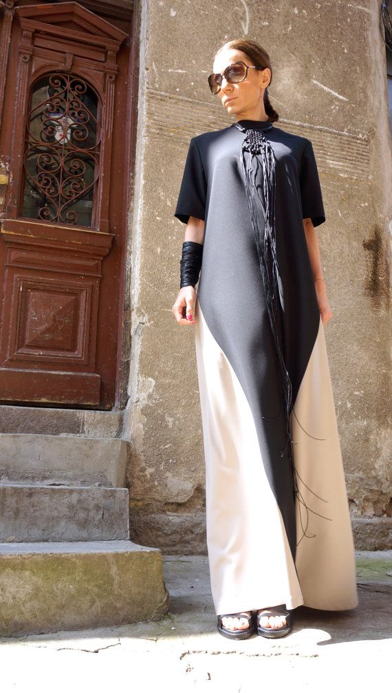 SALE New Collection XXLXXXL Maxi Dress / Black and Ivory | Wikinger ...
