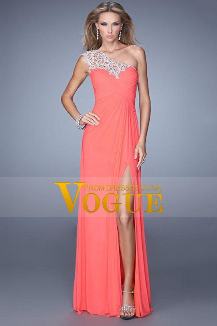 2014 Prom Dresses Sheath/Column One Shoulder Chiffon With Applique