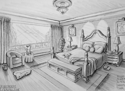 Image result for drawing a bed in 2 point perspective - One point perspective living room sketch ...