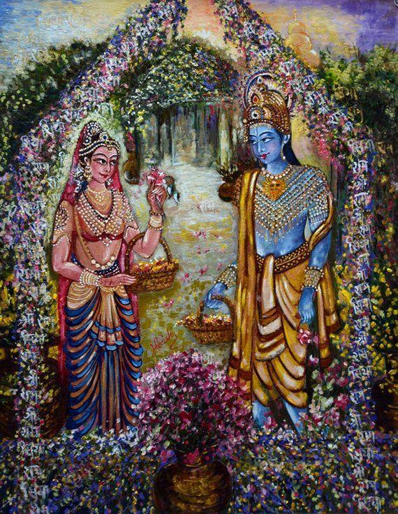 Sita Ram Painting, Modern, Contemporary, Divine Love, Spiritual Art