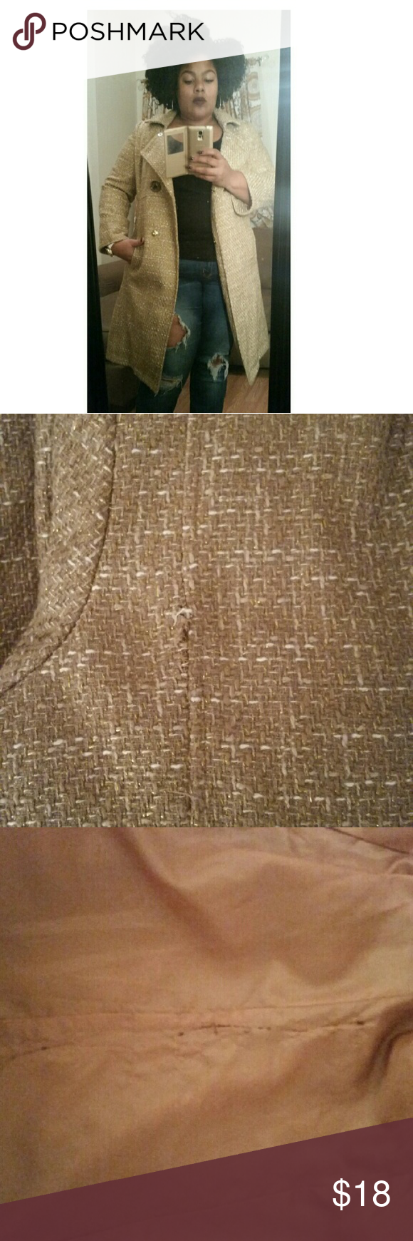 Gold tweed coat Size 2x coat. 2 buttons,  one is hidden. 3/4 sleeve. Has two imperfections,  snag in the back,  where you can't notice,  and inside the coat on the right size , there is some stitching off seam. This is a reposh item. Merona Jackets & Coats Pea Coats