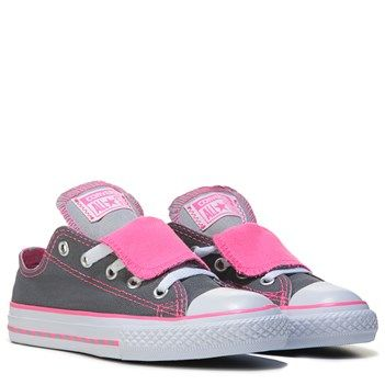 Converse Chuck Taylor All Star Double Tongue Low Top Sneaker Grey Neon Pink