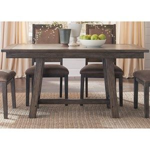 Liberty Furniture Stone Brook Trestle Table With Concrete