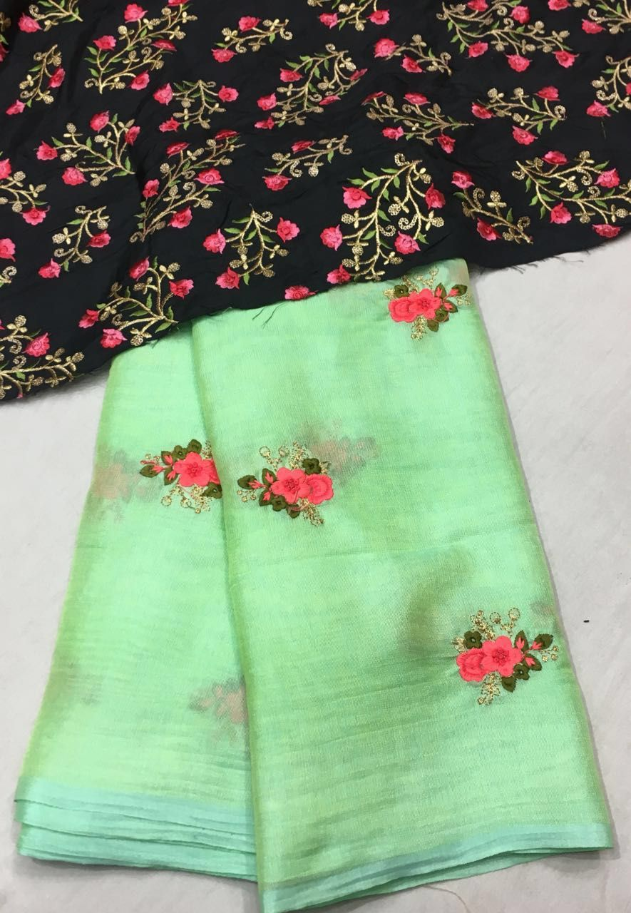 Silk saree blouse designs without embroidery lenin georgette silk saree with designer blouse  fashion on board
