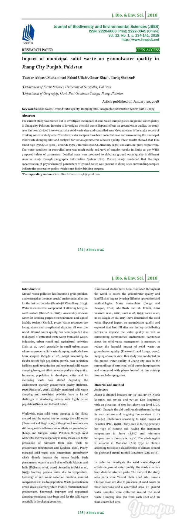 Impact Of Municipal Solid Waste On Groundwater Quality In Jhang City Punjab Pakistan Groundwater Environmental Chemistry Environmental Science