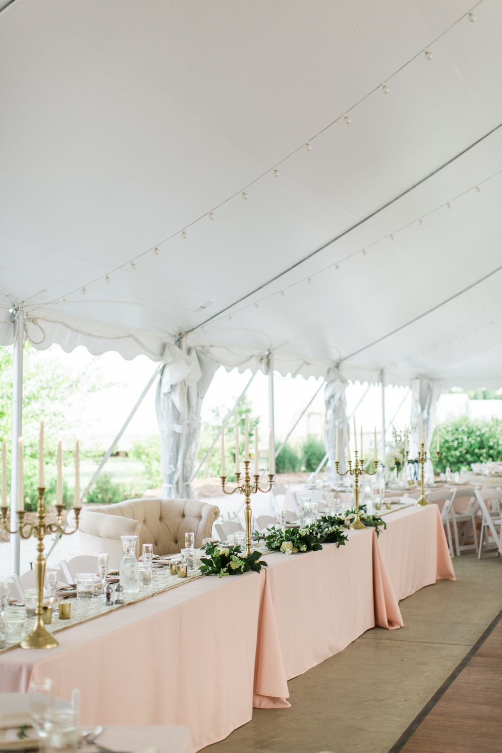 Romantic head table. Blush pink wedding. Gold Candelabra ...