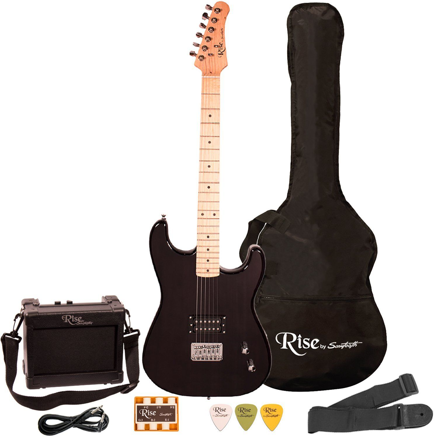 rise by sawtooth st rise st blk kit 1 electric guitar pack black musical. Black Bedroom Furniture Sets. Home Design Ideas
