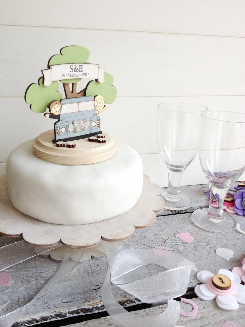 Personalised Land Rover Wedding Cake Topper ~ £45.00 & Free UK ...