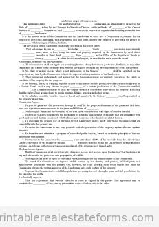 Sample Printable Landowner Cooperative Agreement  Form