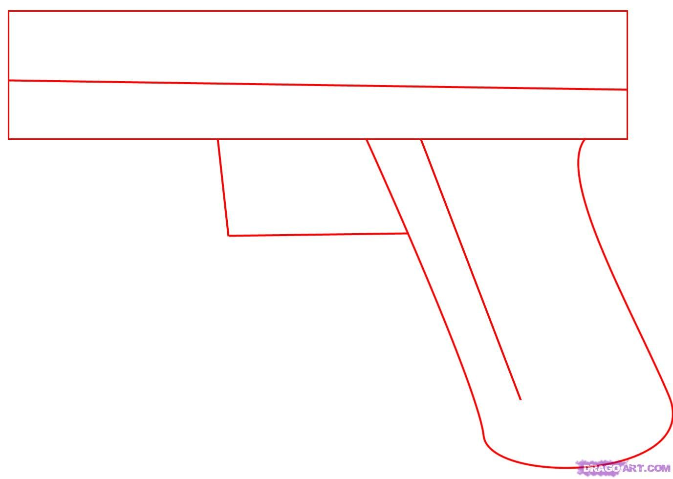 How To Draw Anime Weapons  How To Draw A Glock 17 9mm Hand Gun Step