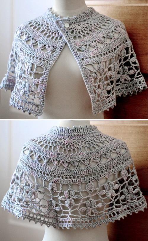 Crochet Free Pattern Of Nice Capelet (Crochet Shawls) | Wraps etc ...