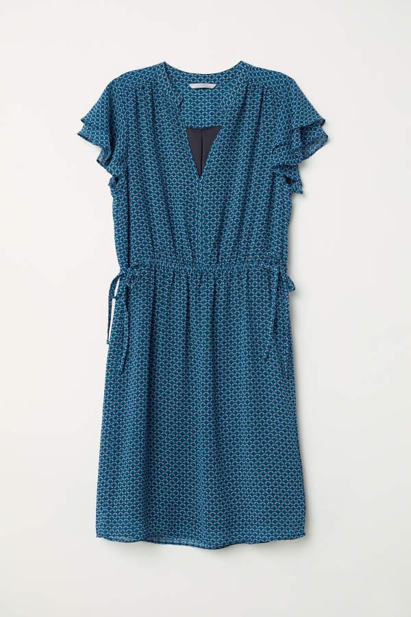 H M H M V Neck Dress Dark Turquoise Patterned Women V Neck Dress Dresses Floaty Maxi Dress