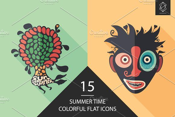 Summer time flat icon set. #flaticons #vectoricons #flatdesign