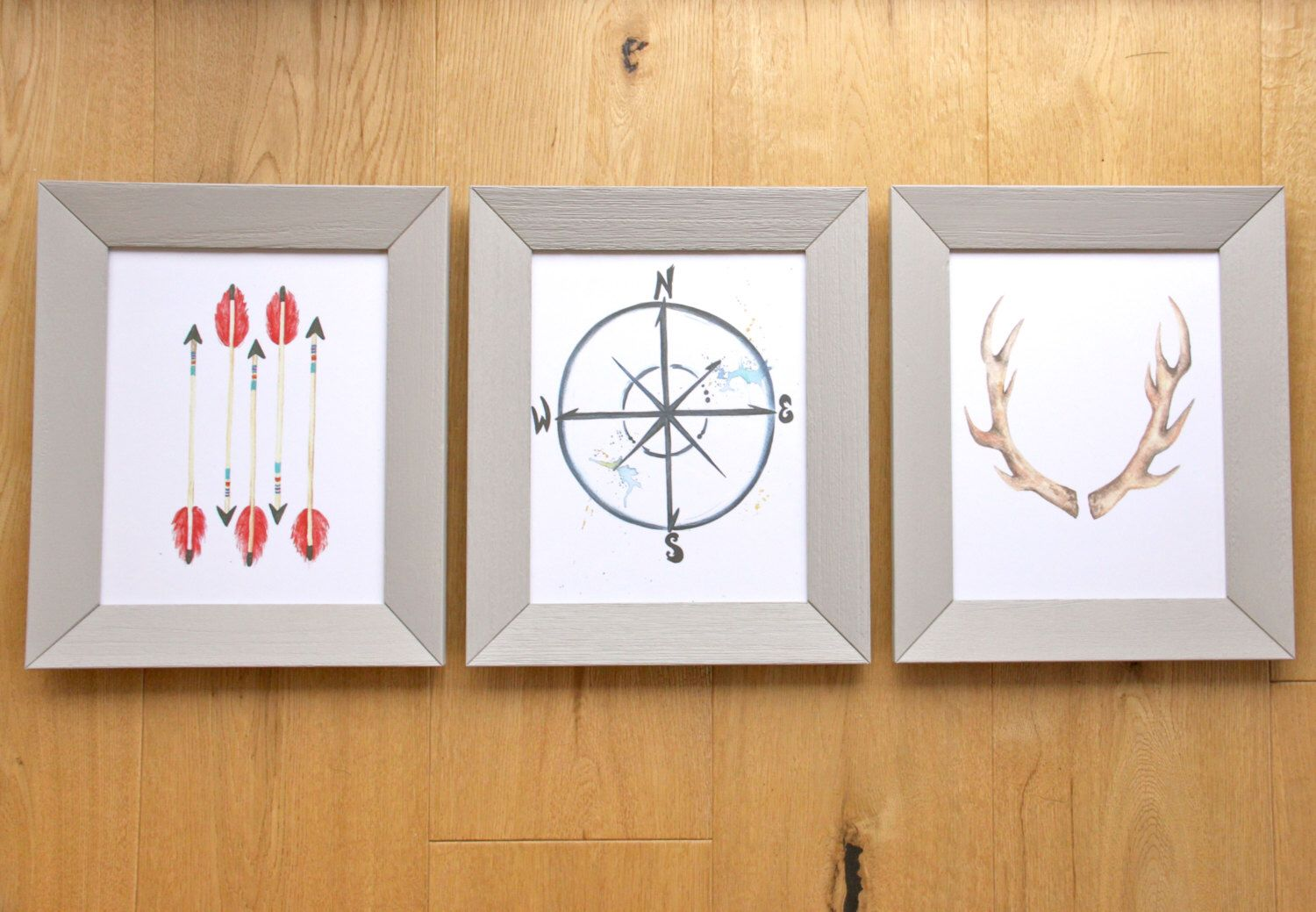 Wild World Nursery,kids room, boys, Set of 3 Original Art Prints, outdoors, hunting, antlers, arrows, woods by LittleFellaPrints on Etsy https://www.etsy.com/listing/251789398/wild-world-set-of-3-original-art-prints