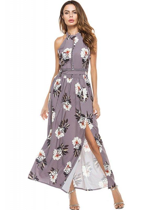 d772b19815b Grey Halter Side Slit Floral Smocked Boho Maxi Dress