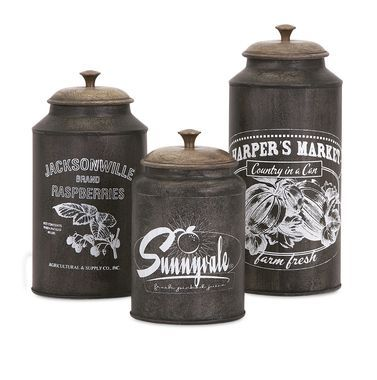 Darby Metal Canisters   Set Of 3   Premier Home Decor