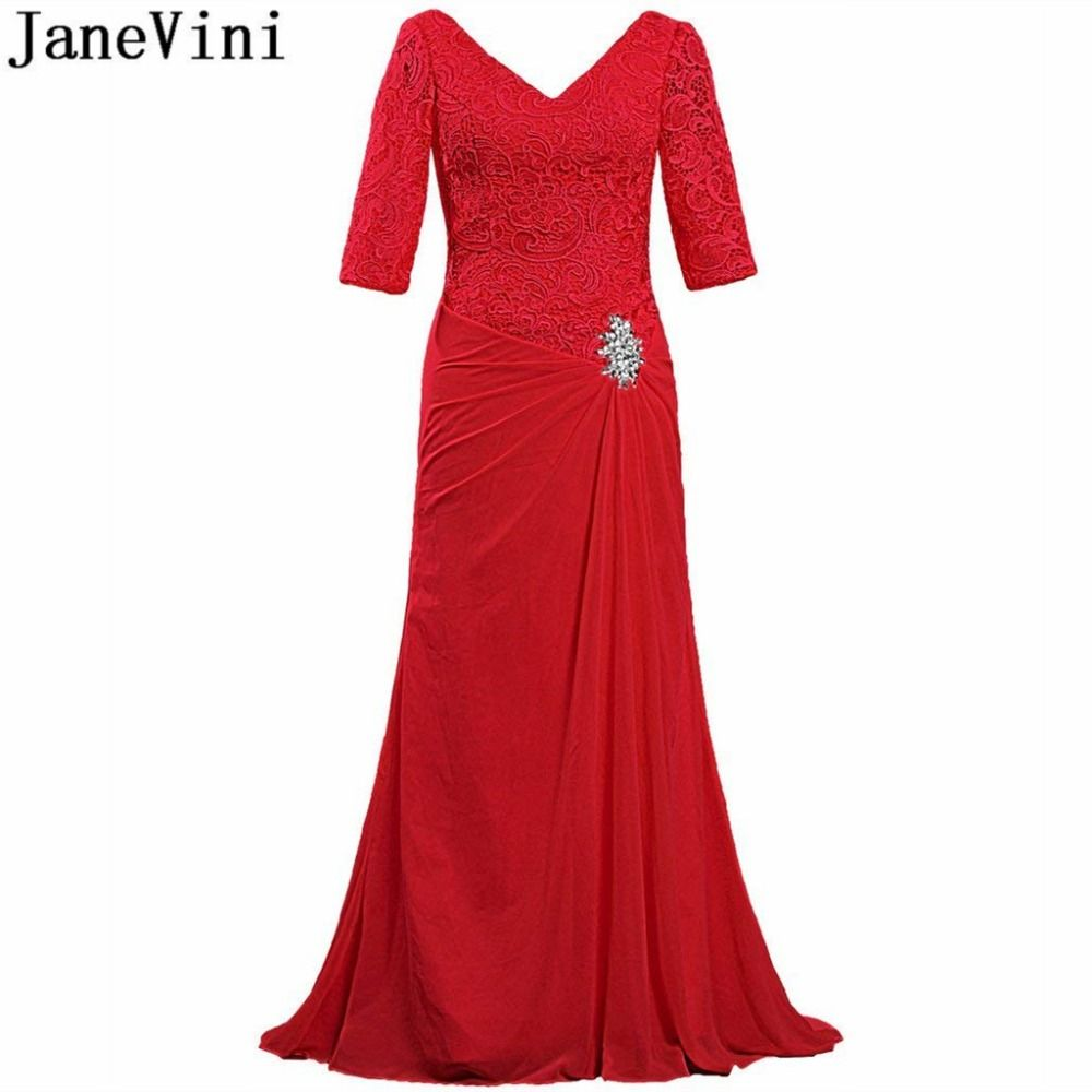 Simple Wedding Dress For Godmother: JaneVini 2018 Elegant Red Lace Crystal Mother Of The Bride