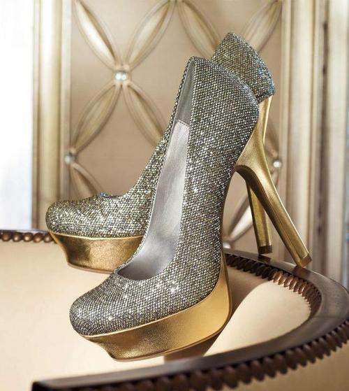 Heels, Gold high heels