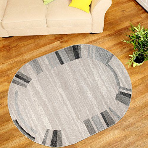 Tapis De Salon Ovale Moderne Collection Calm Couleur Gris Ecru Motif