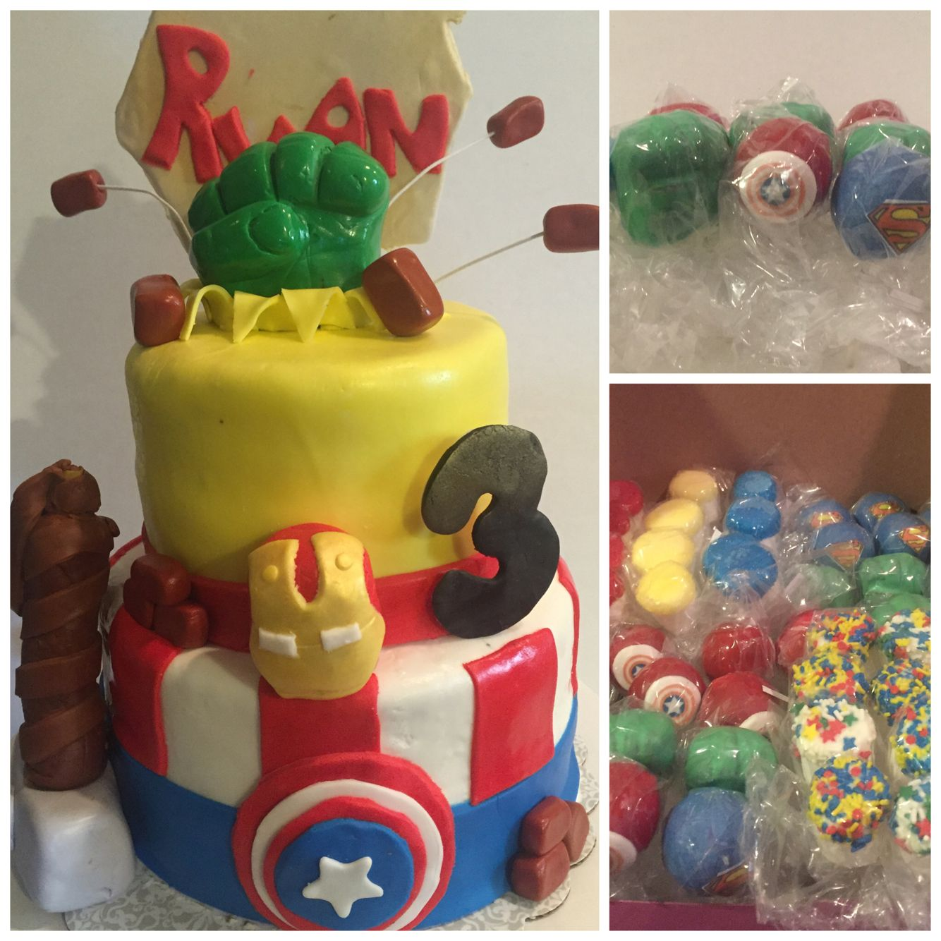 "Avengers party pack starts at $100 includes 8""/6"" cake, 1 dozen avenger Cakepops and 1 dozen rainbow sprinkled chocolate covered Marshmallow pops"