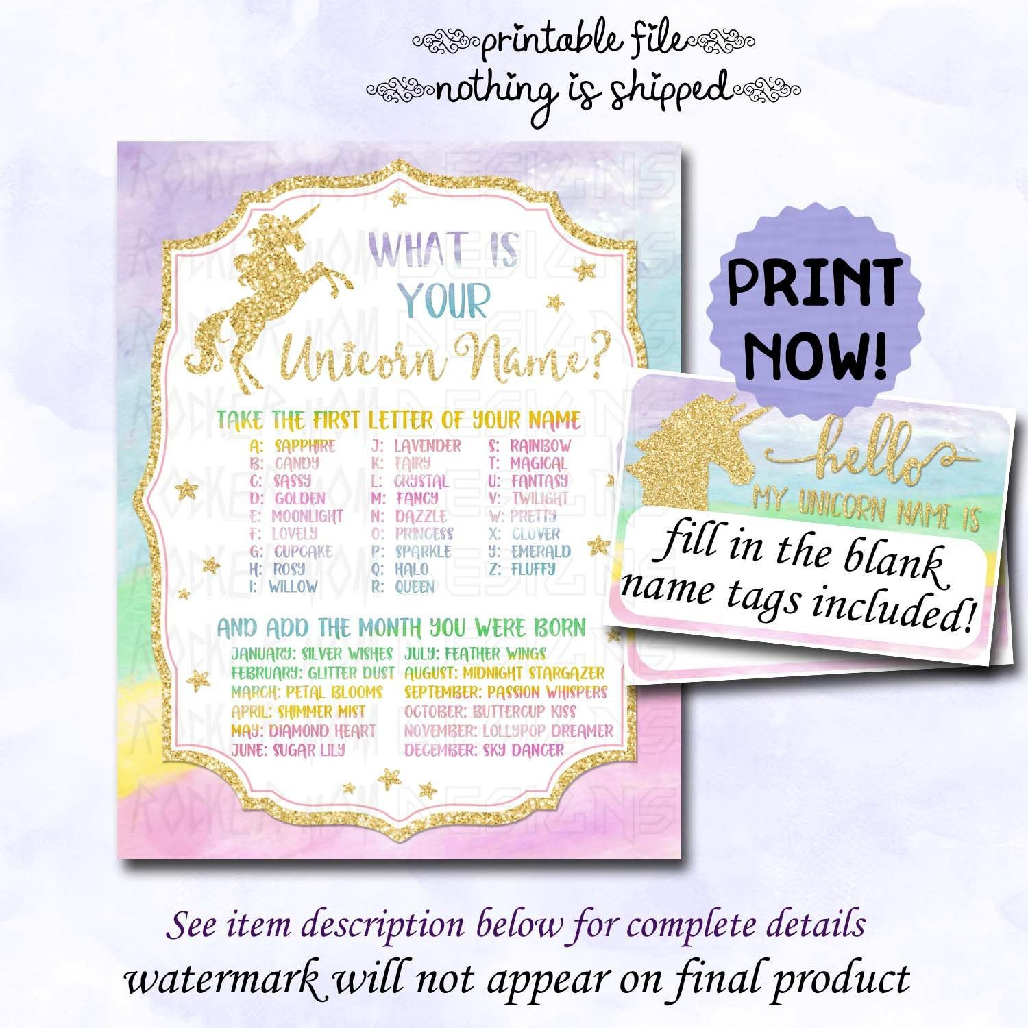 Unicorn Party Games Sign Unicorn Name Instant Download Game Etsy Printable Birthday Invitations Unicorn Party Unicorn Names