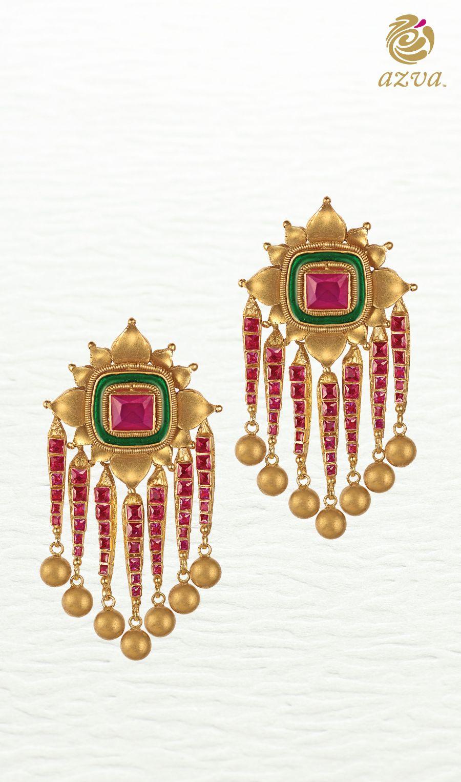 Bridal Gold Earrings With Stones And Enamel Metal Jewellery Diamond Gems Jewelry