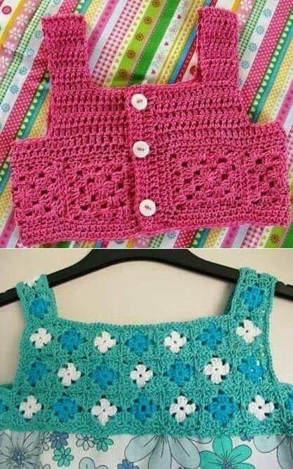 Vestidos para Bebés y Nenas con Canesú en Crochet y Tela #vestidosparabebédeganchillo