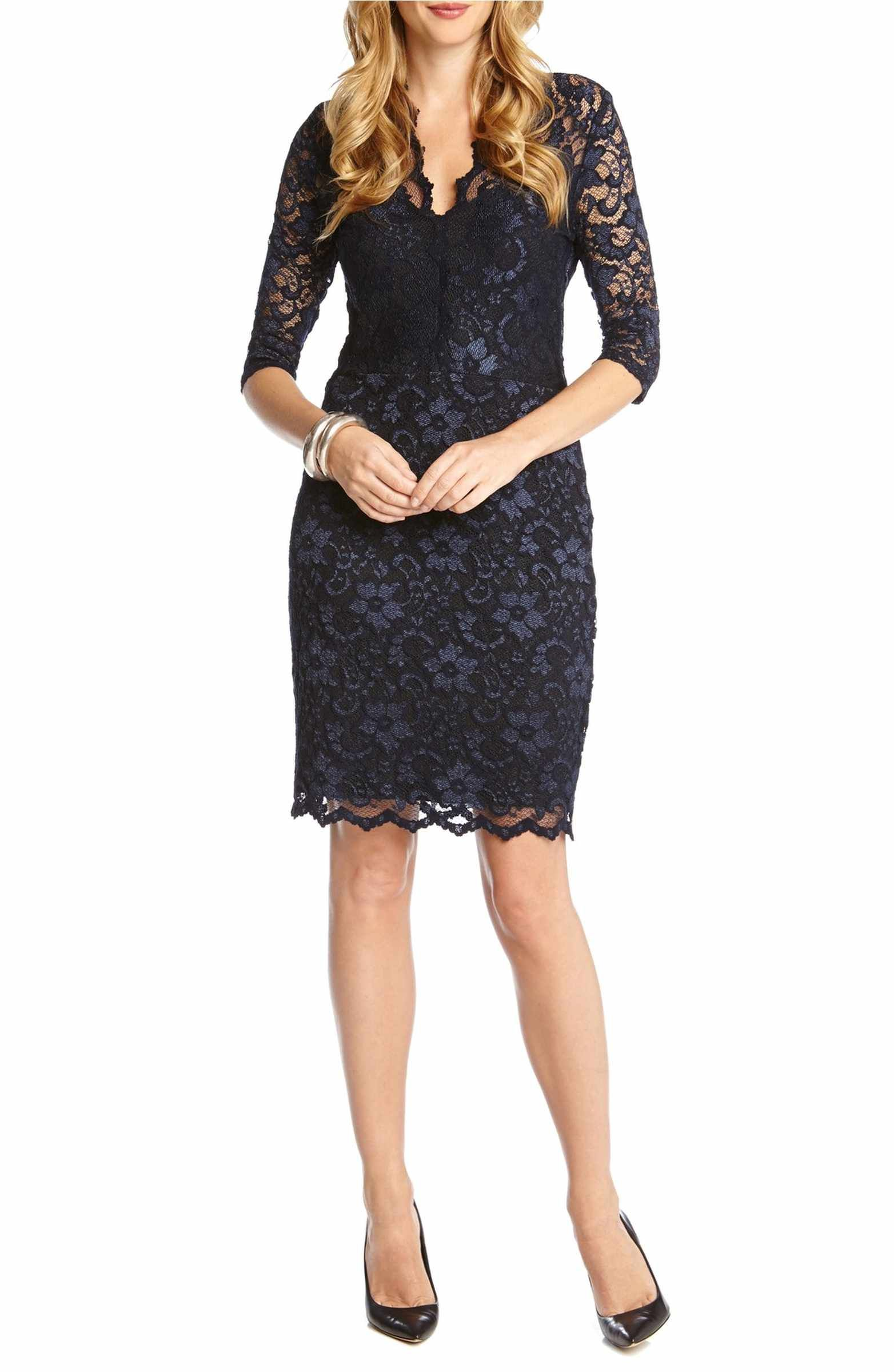 Sheath dresses for wedding guest  Scalloped Lace Sheath Dress  Lace sheath dress Scalloped lace and