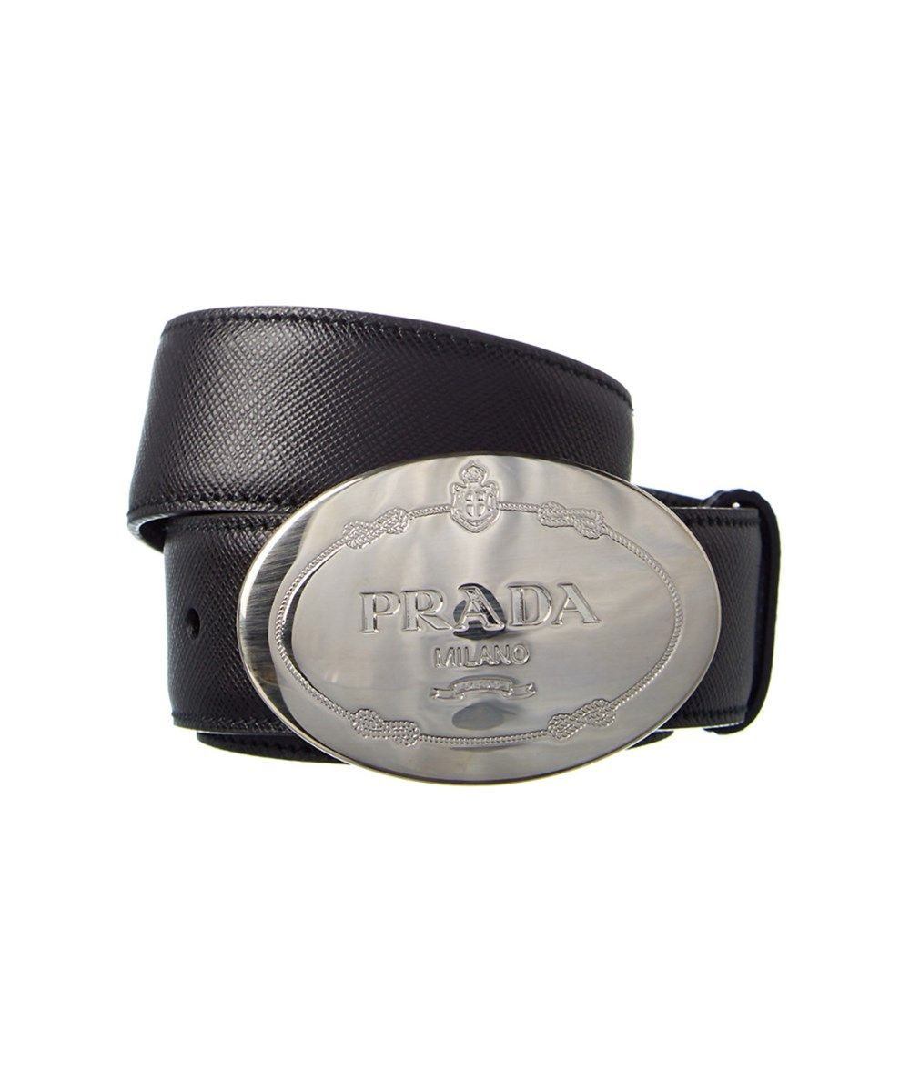 3f962933c6 PRADA Prada Logo Buckle Saffiano Leather Belt'. #prada #belts ...