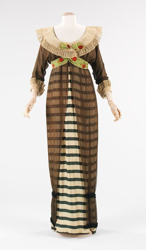 Paul Poiret (French, 1879–1944). Evening Dress, 1910. Forest green and ivory striped silk, black silk chiffon, white cartridge pleated linen, brocaded ribbon.