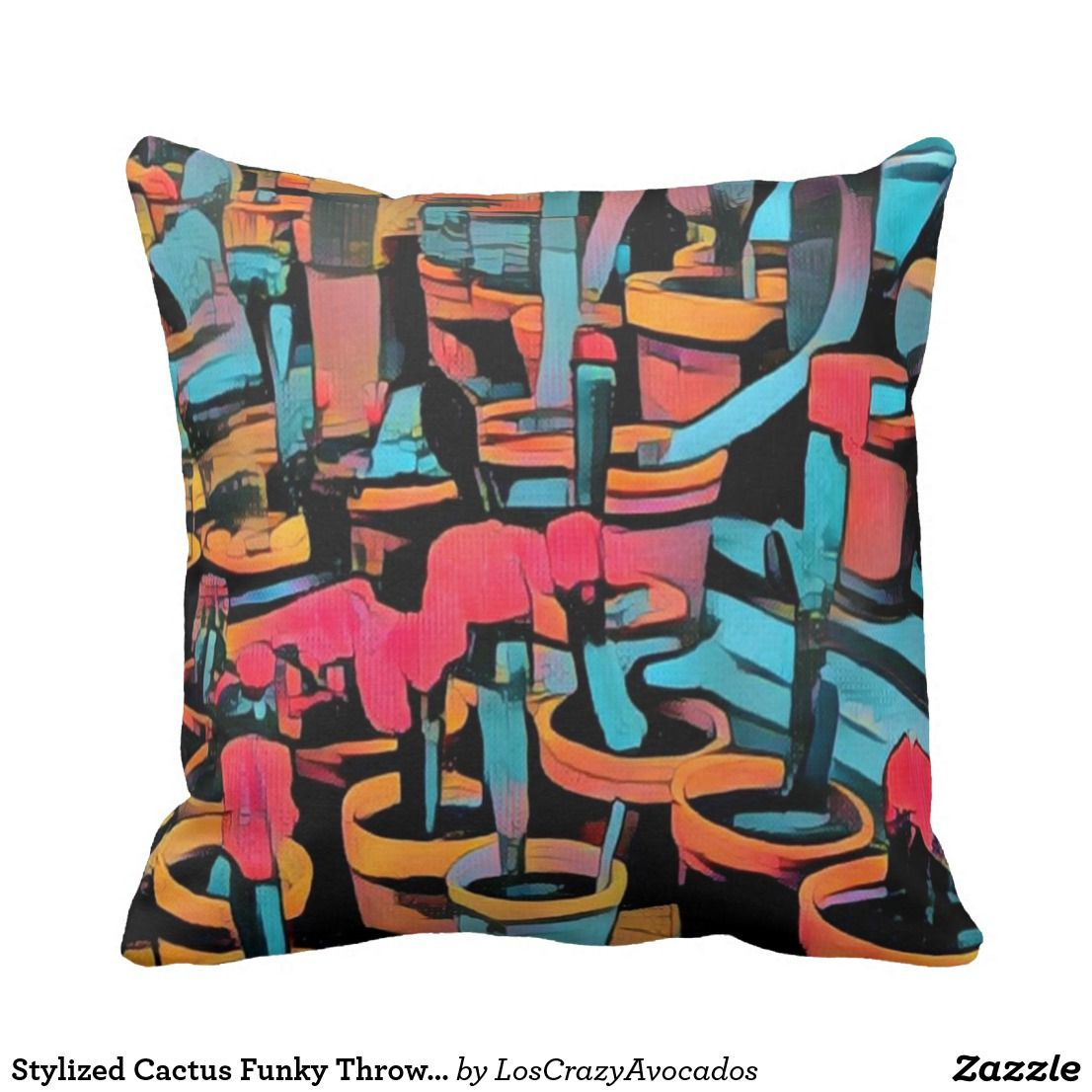 Stylized Cactus Funky Throw Pillow | Home Decor Items | Pinterest ...